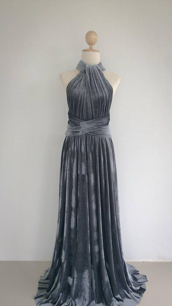 3fe3357bca69 Silver Grey Velvet Bridesmaid Dress, Infinity Dress, Prom Dress ...