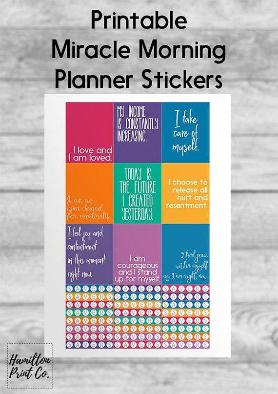 Printable miracle morning planner stickers erin condren ec hamilton print co pinterest miracle morning