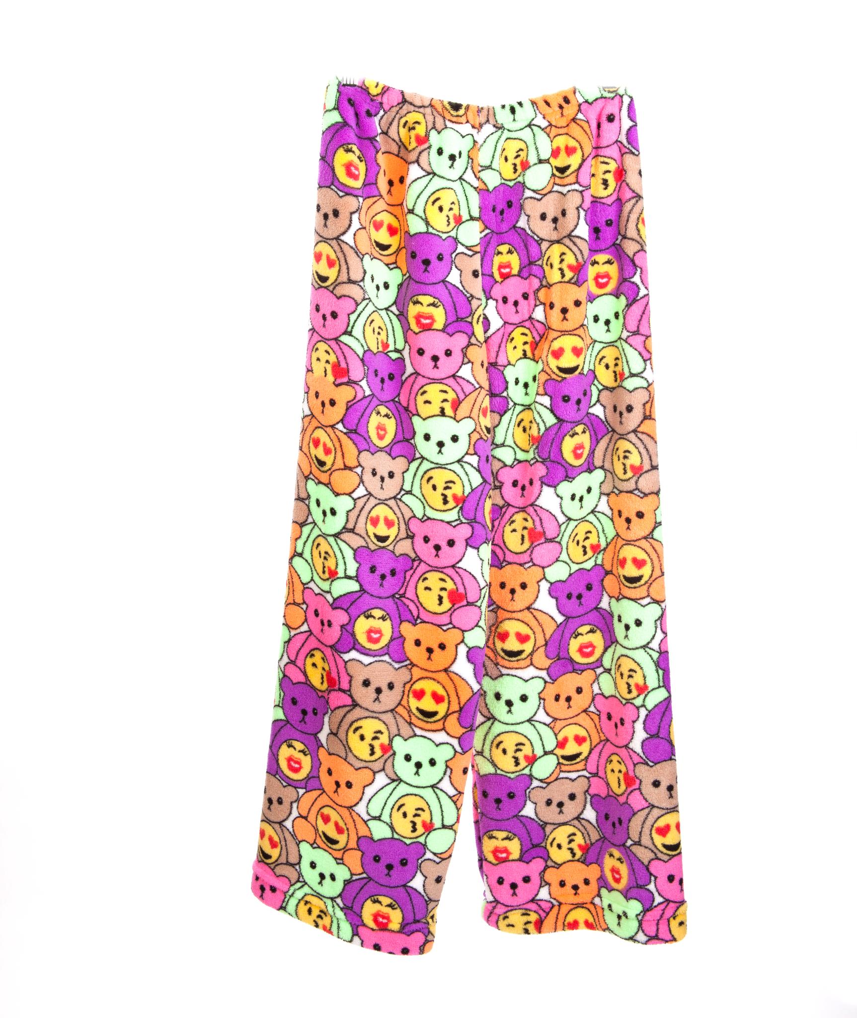 Made with Love and Kisses Emoji Bears Plush Pajama Pants