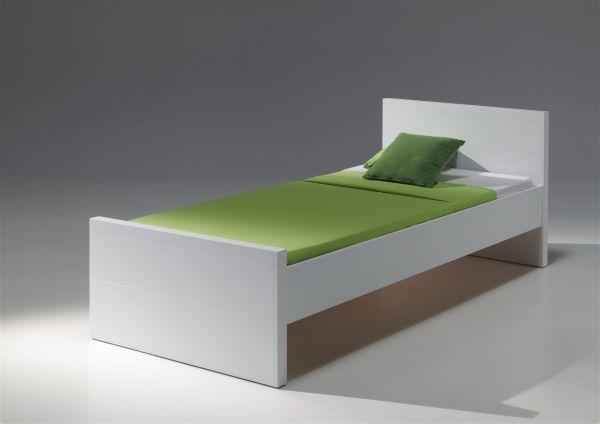 Einzelbett Lara 90x200 cm, Weiß Einzelbett, Bett mit