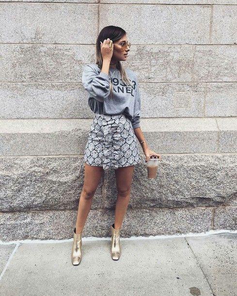 Skirt: tumblr mini grey sweatshirt grey sweater boots gold boots ankle boots sunglasses