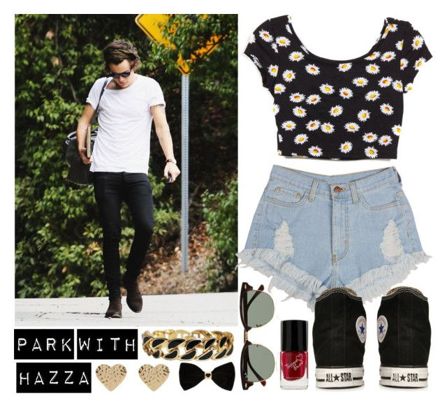 """""""Park with Harry"""" by directioneruruguaya ❤ liked on Polyvore featuring Converse, Ray-Ban and River Island"""