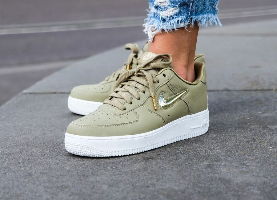 Nike Air Force 1 '07 PRM LX Neutral Olive Gold Jewel Swoosh ...