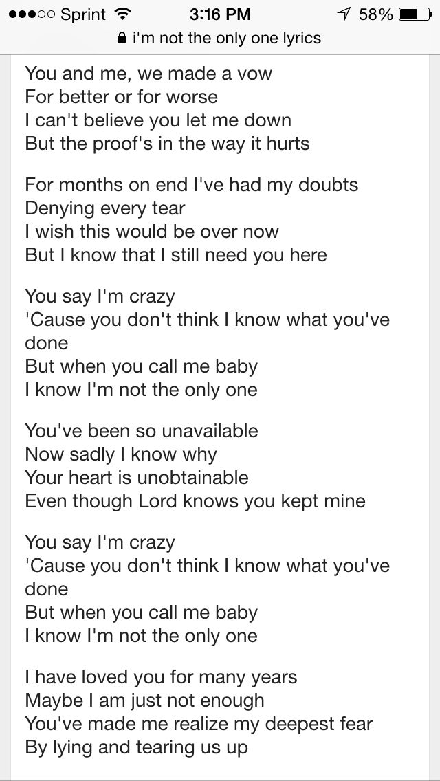 Sam Smith Lyrics Im Not The Only One The Affair Broken Vow