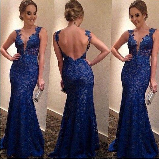 Vestido azul royal longo aliexpress