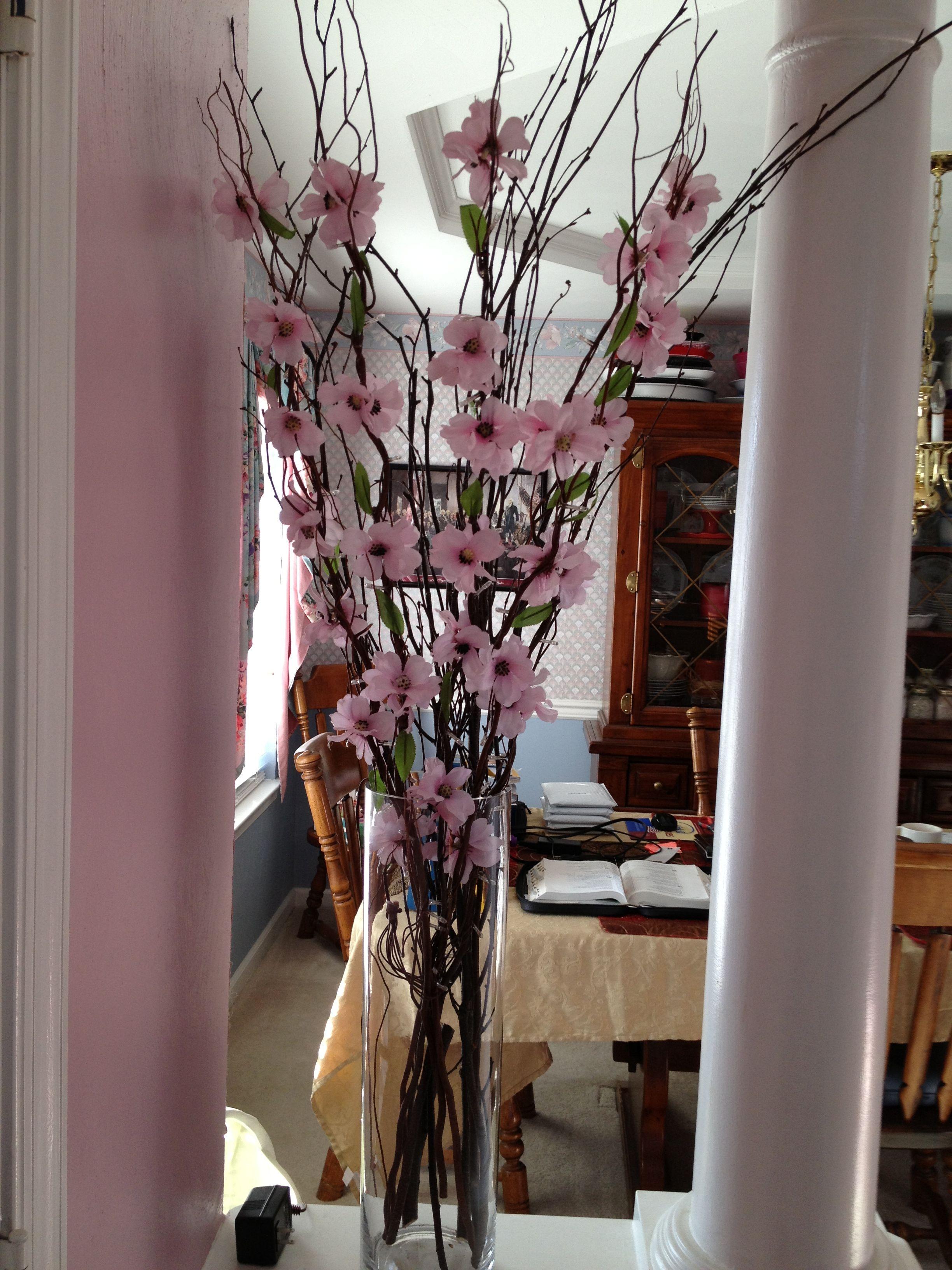 Dyi Cherry Blossom Centerpiece Total Cost 35 00 Vase Tjmaxx 12 00 Light Up Branches Ross Cherry Blossom Centerpiece Cool Diy Projects Cherry Blossom Branch