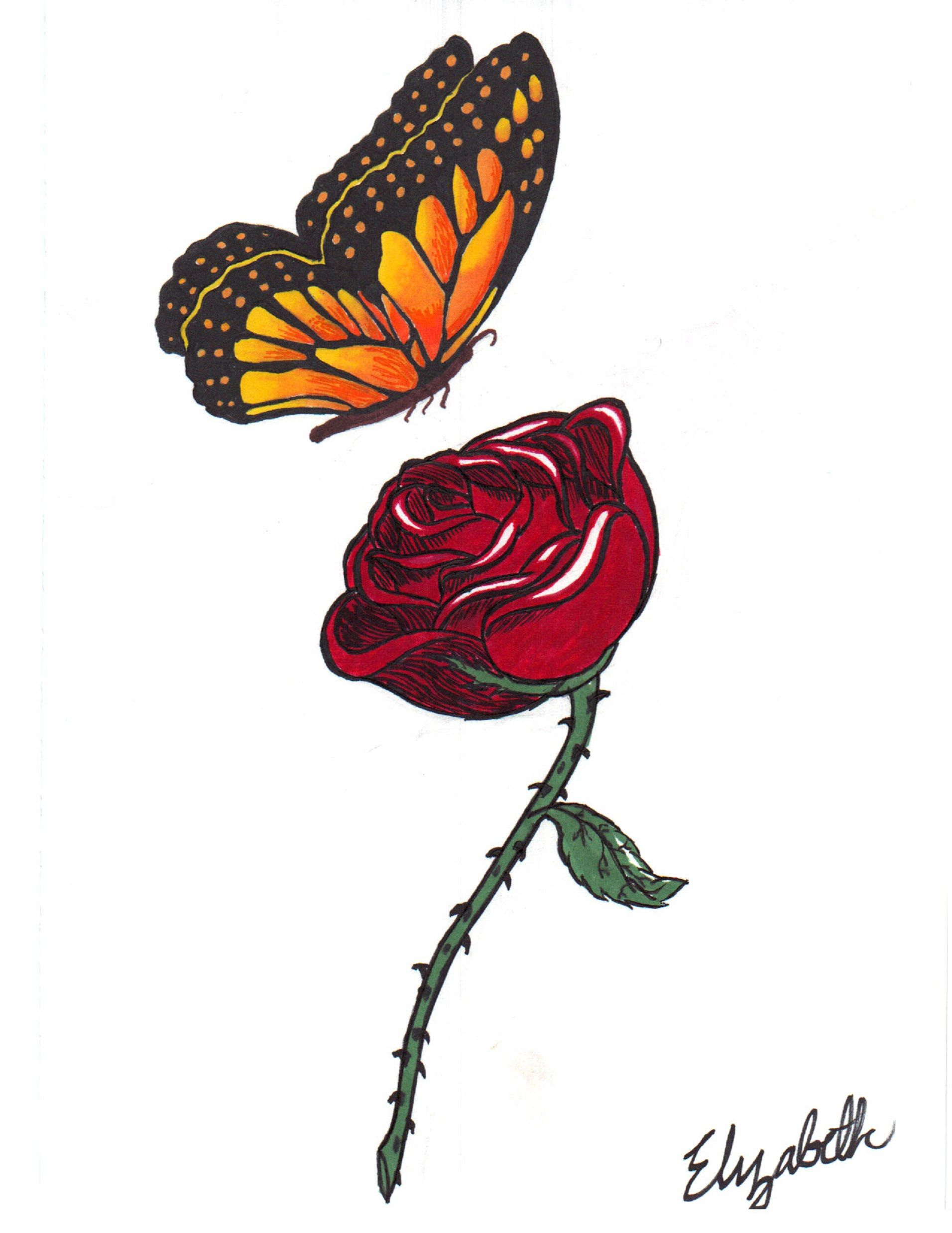 Monarch Butterfly With Rose By Cutetiger123 D5396tr Jpg 1912 2475 Butterfly Tattoo Butterfly Tattoo Designs Tribal Butterfly Tattoo