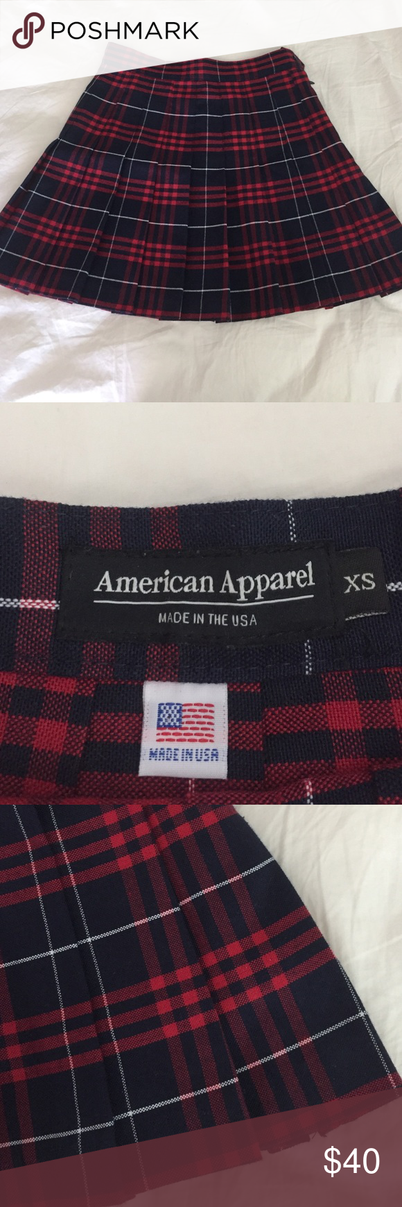 33b6b1a291 American apparel Matilda plaid skirt AA plaid pleated tennis skirt. Blue  and red, size XS. Great condition. American Apparel Skirts Mini