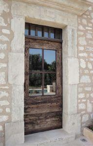 Fabrication Porte Du0027entrée En Vieux Chêne Avec Chassis Metal Vitré. Front  Door Made