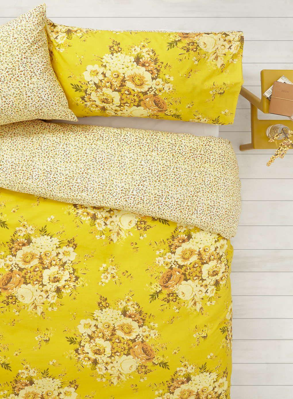 Vintage Nostalgia Yellow Floral Bedding Set Bedding Sets Home Lighting Furniture Floral Bedding Sets Yellow Bedding Floral Bedding