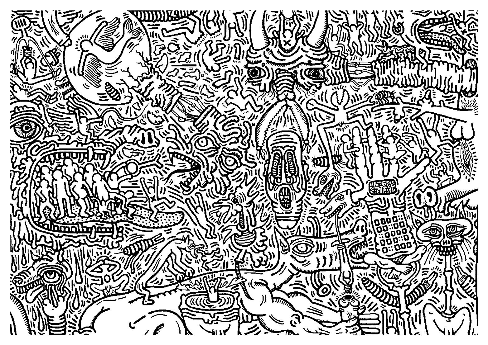 Keith Haring 9 Pop Art Coloring Pages For Adults Just Color