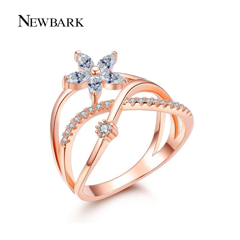 Newbark delicate bloem vinger ring rose en wit vergulde verharde tiny zirconia cz sieraden voor valentijnsdag geschenken