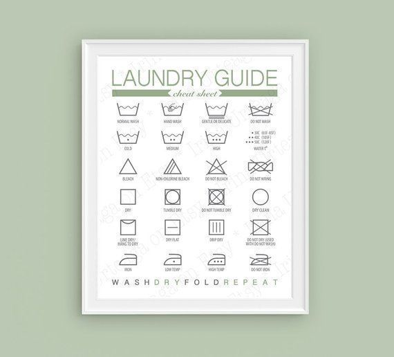 Laundry Guide PRINTABLE Wall Art, Sage Green and Gray Laundry Room Washing Symbols art print, cheat sheet decor digital download poster sign #graylaundryrooms PRINTABLE Laundry Washing Symbols, Laundry room wall Art prints, Sage Green & Gray Sign, Laundry Instructions, Laundry wall decor, poster. LAUNDRY ROOM DECOR - BATHROOM PRINT - LAUNDRY SYMBOLS A digital print for the laundry room, with the most common laundry symbols. Laundry Washing Symbols #graylaundryrooms Laundry Guide PRINTABLE Wall A #graylaundryrooms