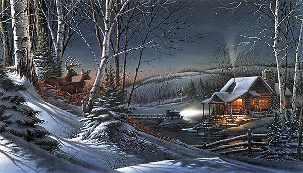 Wallpapers Snow House Car Warm Terry Redlin S Evening With Friends Hunting Christmas