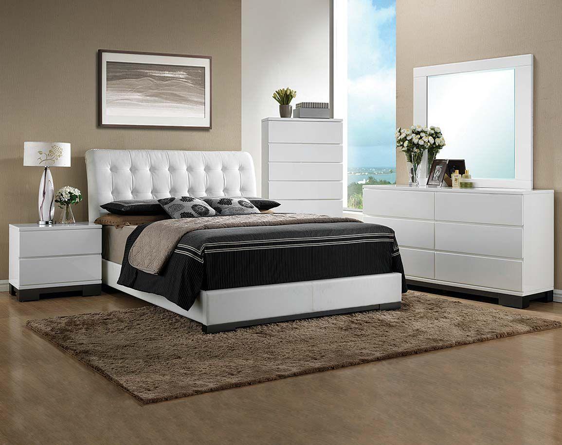 white bedroom suite, headboard, dresser, mirror | avery bedroom