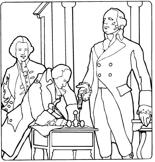 Declaration Of Independence Coloring Page Preschool Fall