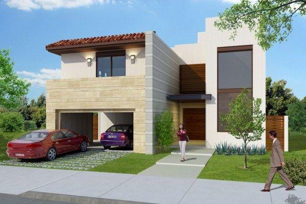 fachadas de casas bonitas con cantera y teja