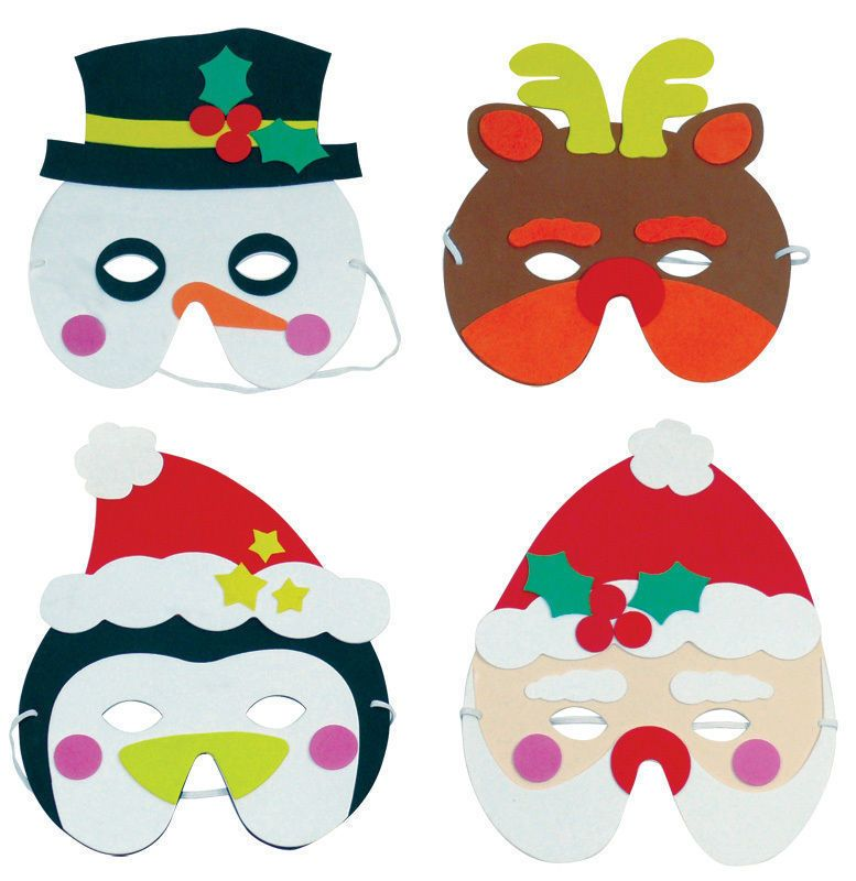 6 Foam Christmas Masks - Pinata Toy Loot/Party Bag Fillers Wedding