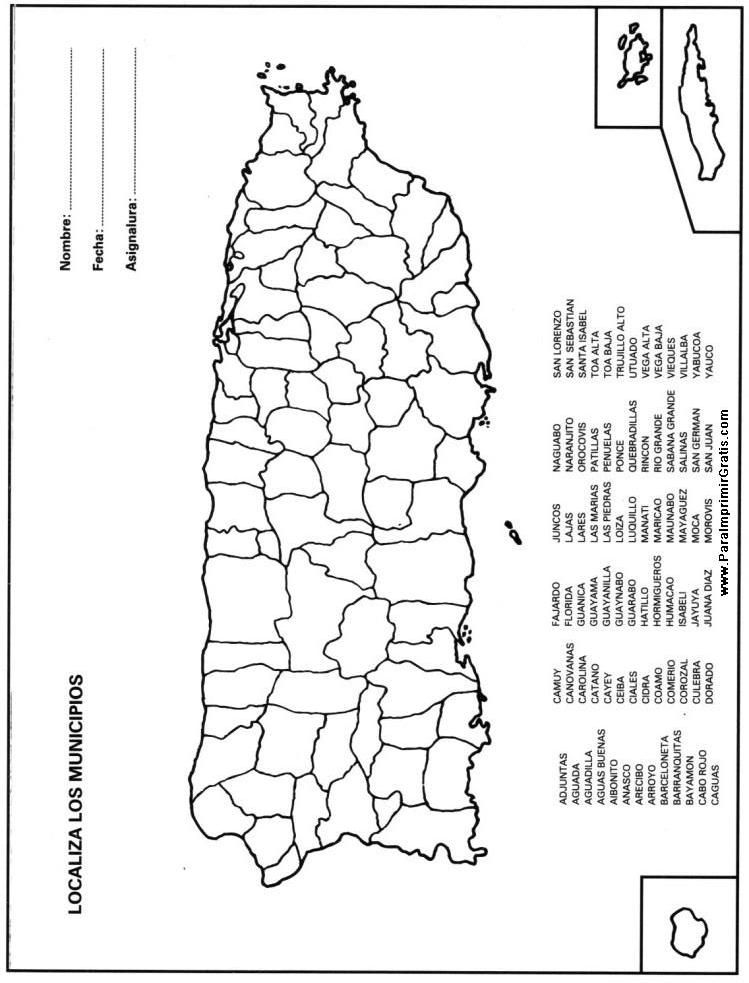Mapa Municipios de Puerto Rico   Estudios Sociales   Pinterest ...
