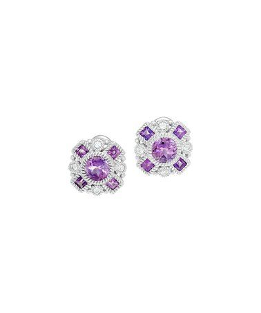 Look what I found on #zulily! Diamonique & Amethyst Button Stud Earrings #zulilyfinds