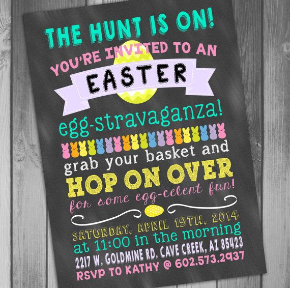 Easter Party Invitation Easter Card Template By Claceydesign