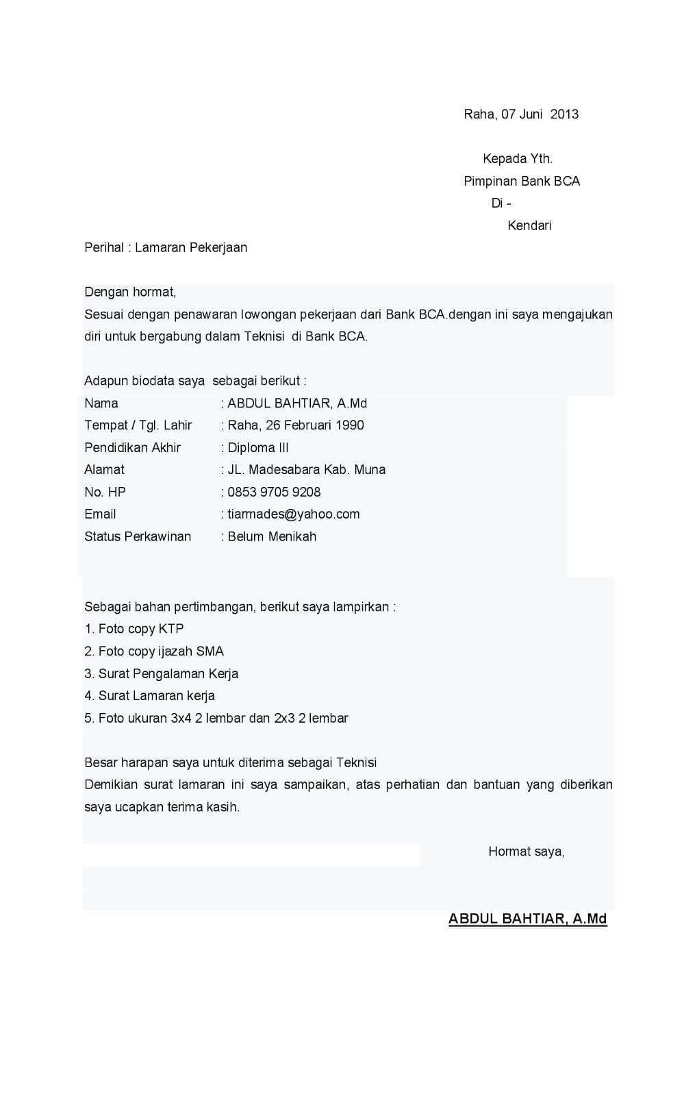 50 Contoh Surat Lamaran Kerja Notaris Surat Pimpinan Inggris