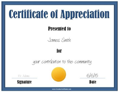 Blue certificate of appreciation template with a gold award ribbon blue certificate of appreciation template with a gold award ribbon yadclub Image collections