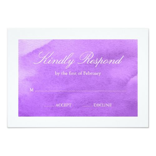 Purple watercolor rsvp card rsvp formal wedding invitations and purple watercolor rsvp card stopboris Images