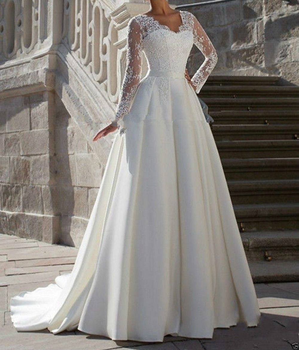 Royal themed wedding dresses  Click to Buy ucuc Simple ALine V Neck Lace Long Sleeves Bridal