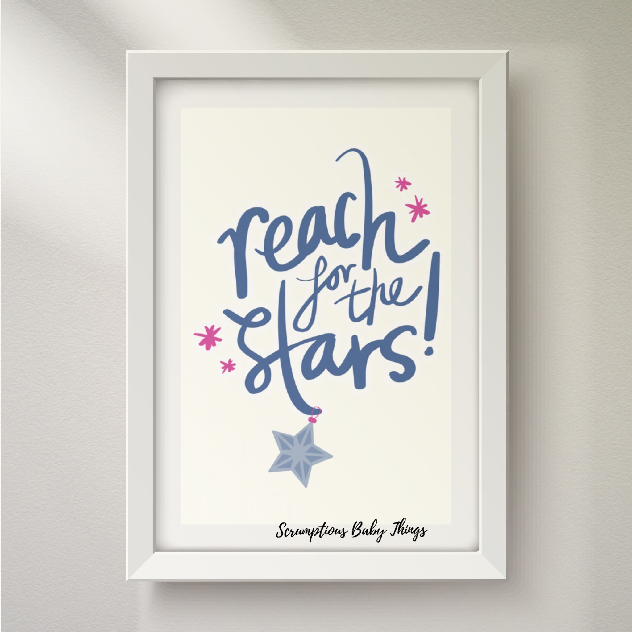 Reach for the stars cute baby things custom wall art kids room