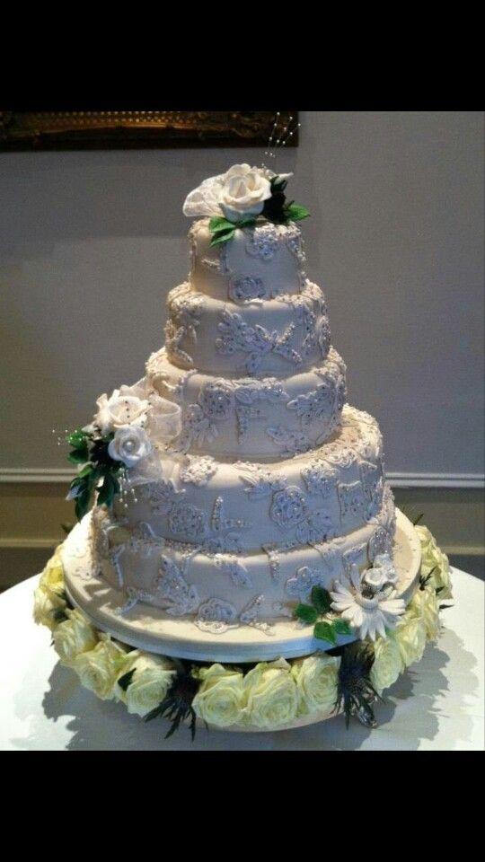 White lace wedding cake