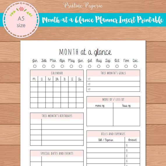 A5 Month At A Glance Monthly Planner Insert Printable Fits Kikki