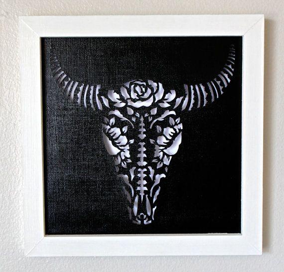 Framed Day Of the Dead Bull Skull Cut Paper Wall Art by hvansick