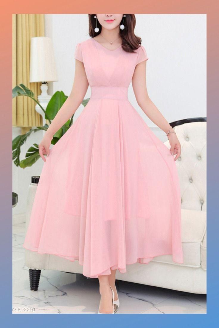 round neck plain chiffon maxi dress #longdress #maxidress