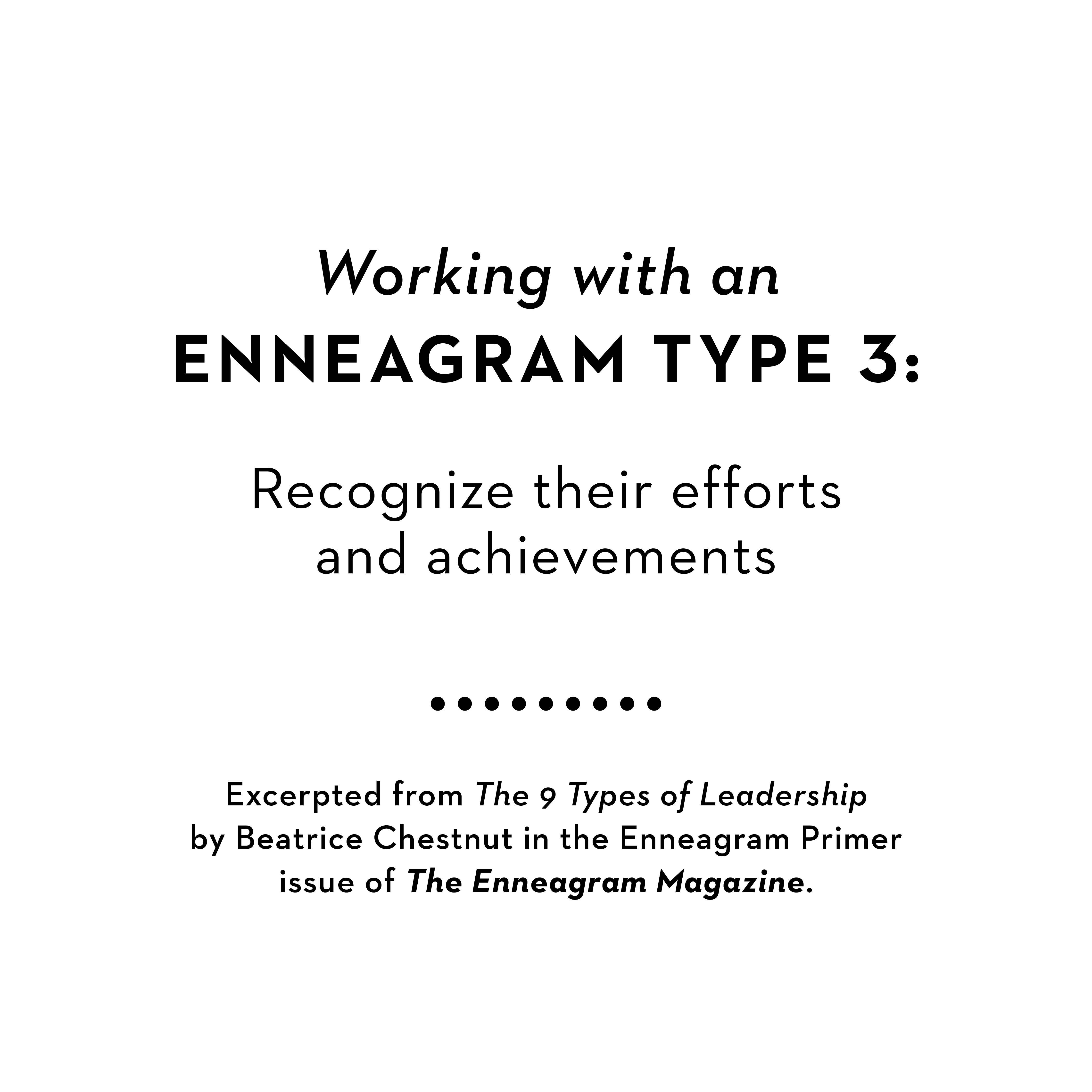 Working with an Enneagram 3