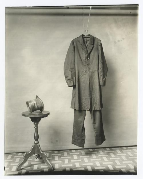 """The suit and hat worn by Lincoln on the night of his assassination.  Photograph made by the Smithsonian, circa 1890.""  *s*"