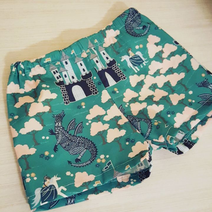 Handmade baby shorts by @tharensolo featuring Brave fabrics by Hawthorne Threads