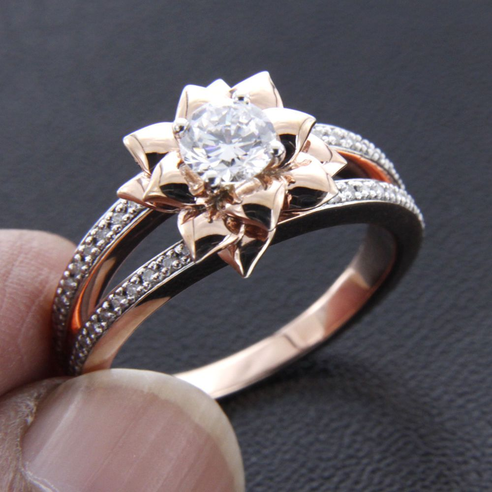 10k rose gold flower style round solitaire diamond