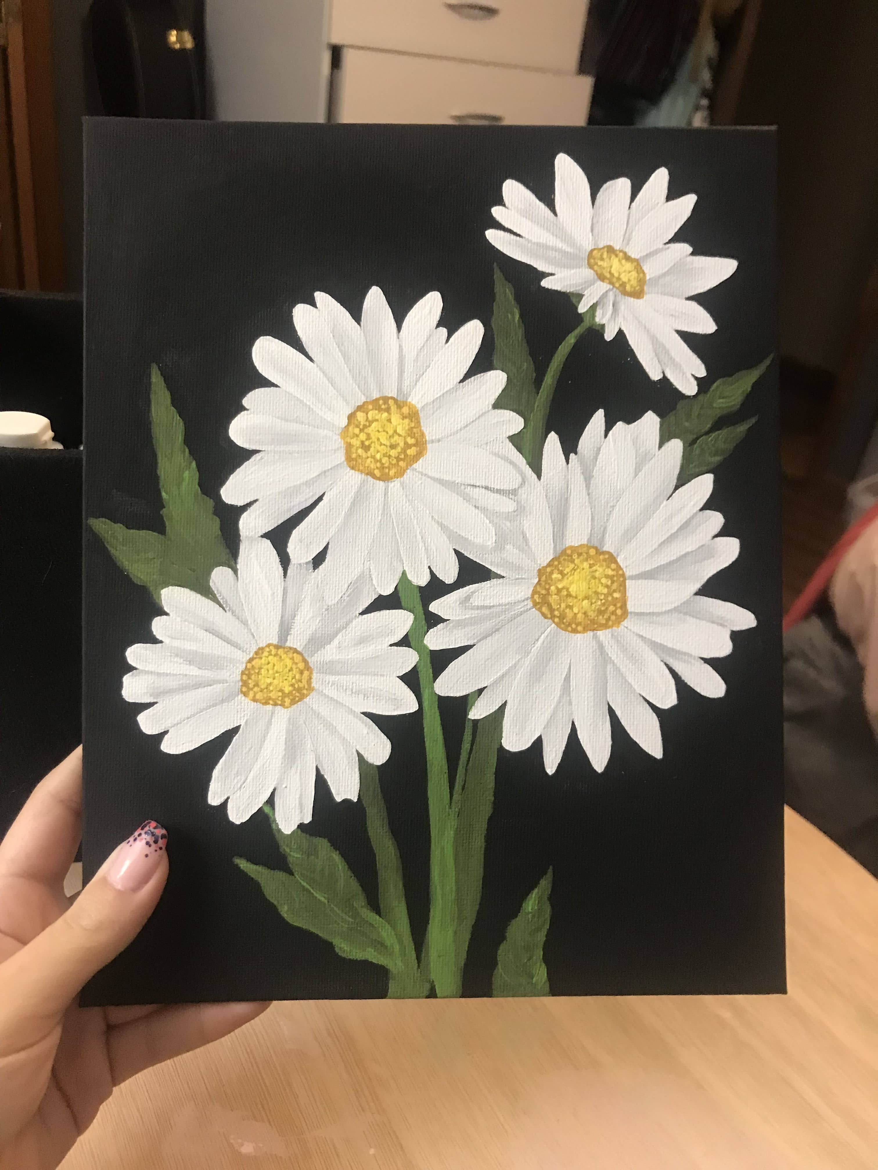 30 Summer Acrylic Painting Ideas For Beginners In 2020 Flower Art Painting Daisy Painting Small Canvas Paintings