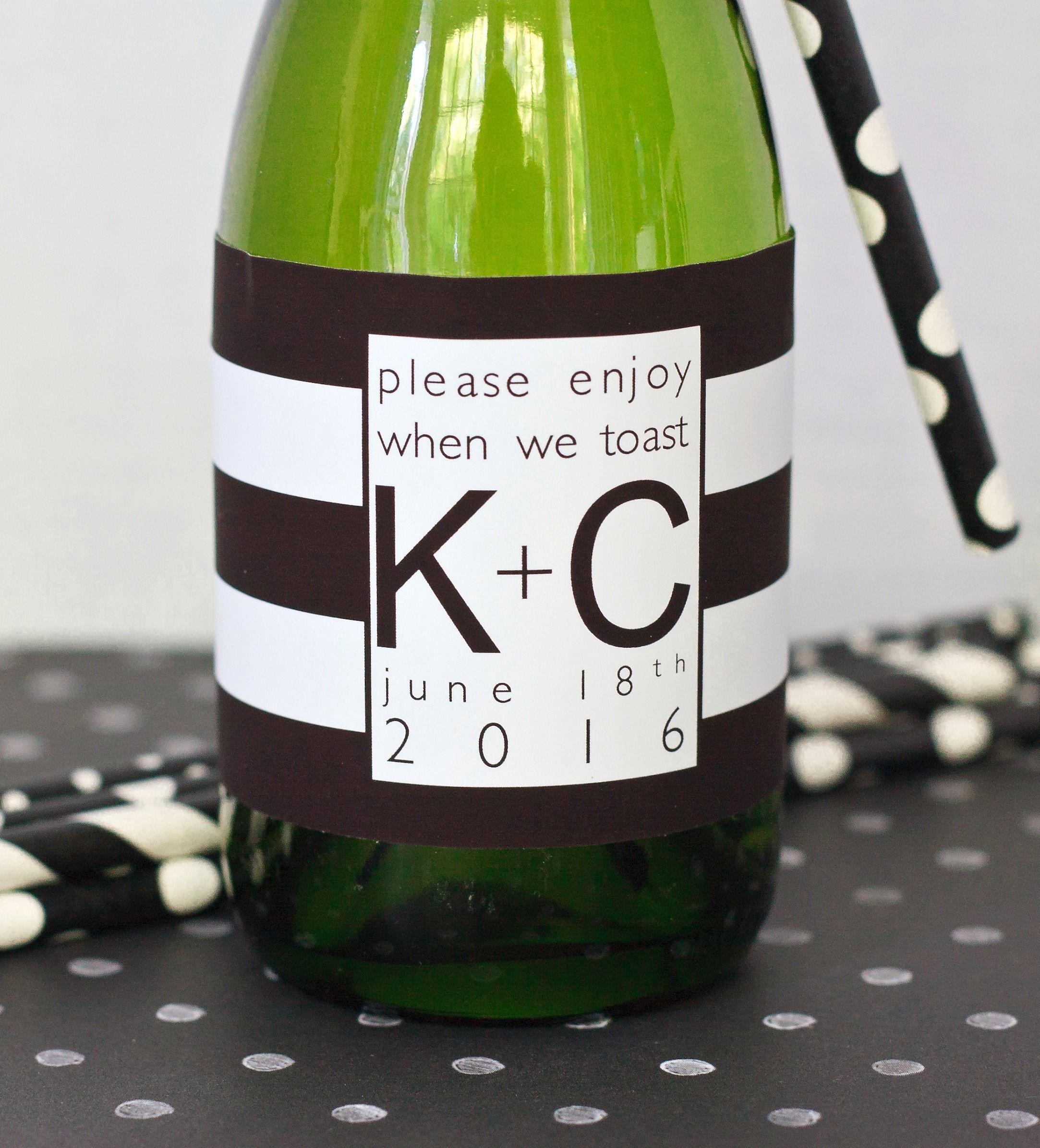 Wedding Mini Champagne Bottle Labels. Black & White Mini Wine Label ...