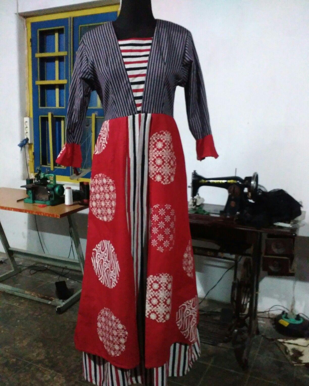 Dress Batik kombinasi Tenun Lurik by Aini Anendra #ainianendra