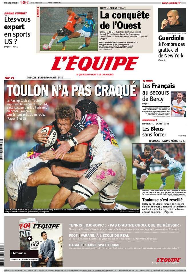 L'Équipe - Vendredi 2 Novembre 2012 - N° 21294