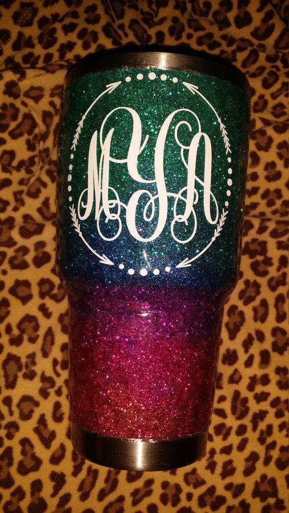 Yeti Monogrammed Glitter Yeti Rambler By