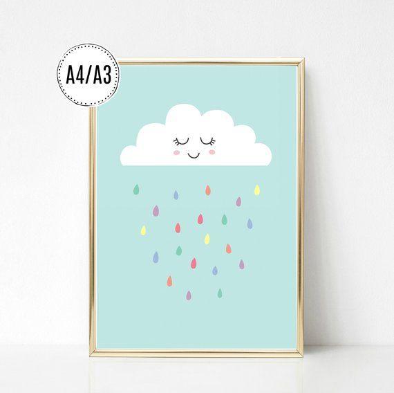 Poster Kunstdruck Bild Kinderzimmer Wolke mit Regentropfen