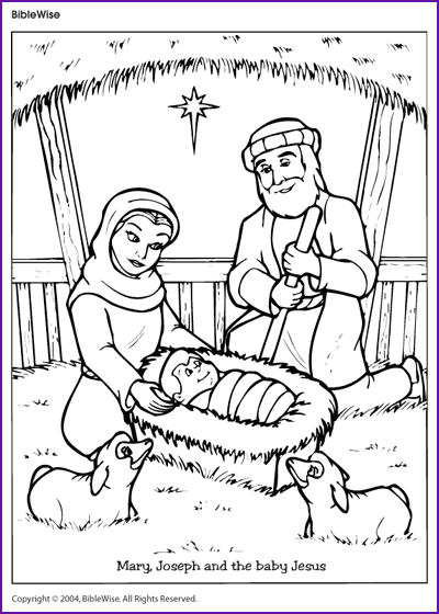 coloring mary joseph and the baby jesus kids korner biblewise