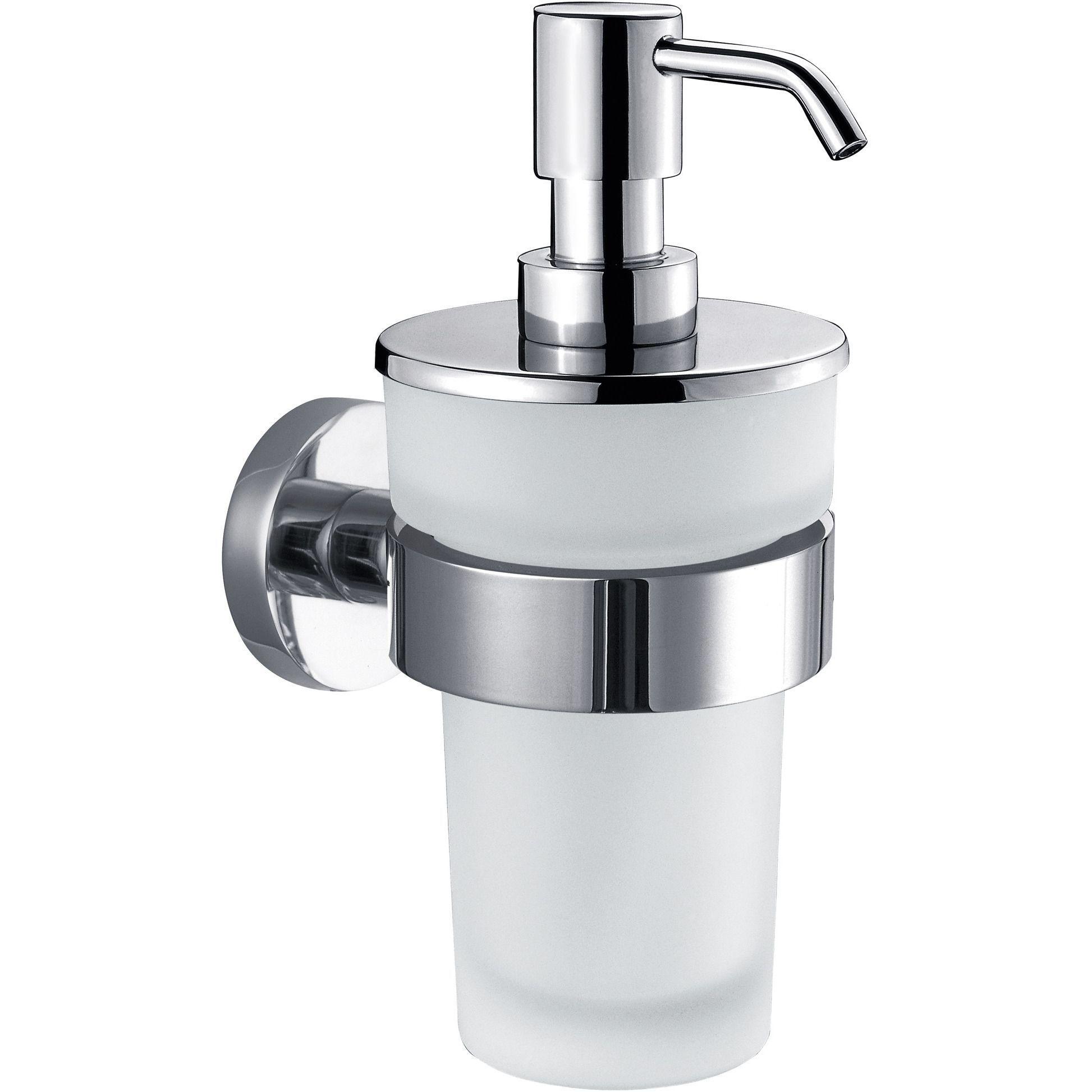 DWBA Glass Soap Lotion Dispenser Pump for Kitchen/ Bathroom Wall Mounted. Chrome