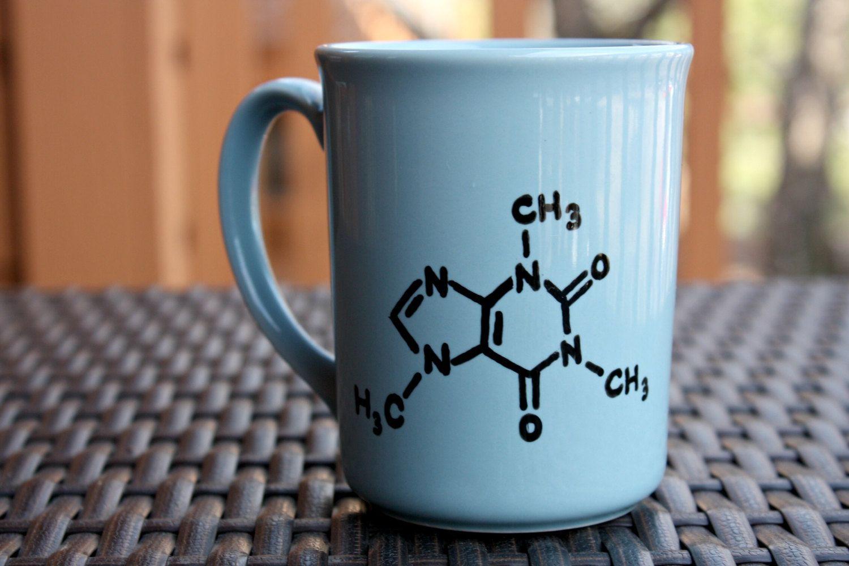 Cute idea for a coffee mug, draw out a caffeine molecule ...