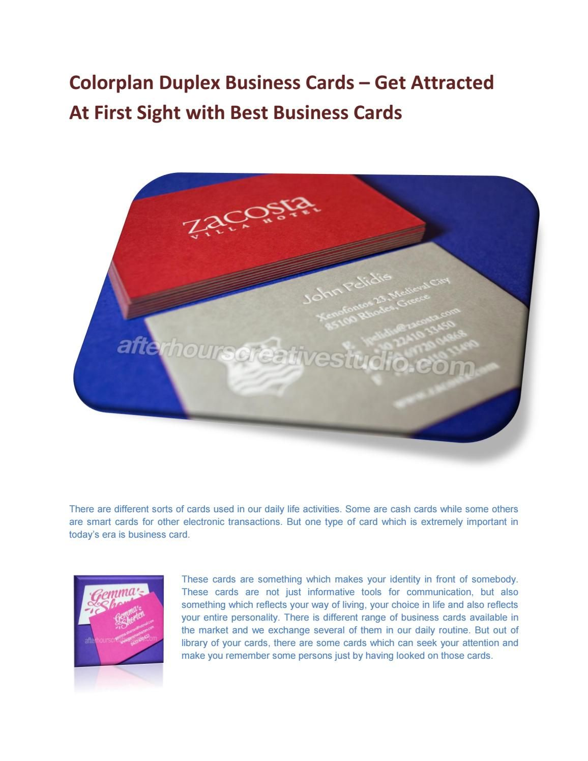 Get attracted at first sight with best cards - Colorplan Duplex ...