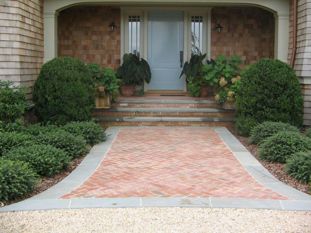 herringbone brick walkway & steps