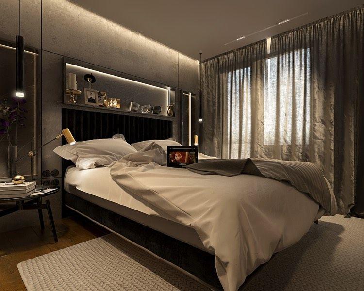 dunkle Farben dominieren in diesem Schlafzimmer Wohnideen fürs